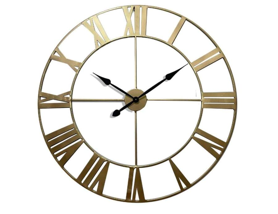 שעון קיר מתכתי בצבע זהב אותיות רומיות