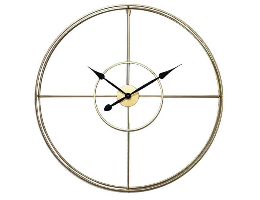 שעון קיר מתכתי בצבע זהב עיצוב מינימאלי