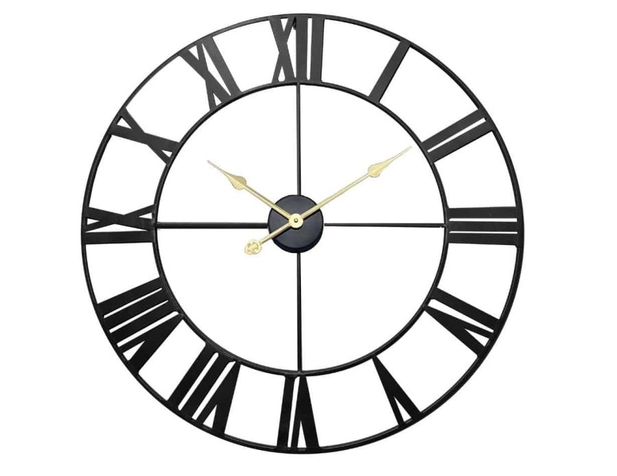 שעון קיר מתכתי בצבע שחור אותיות רומיות