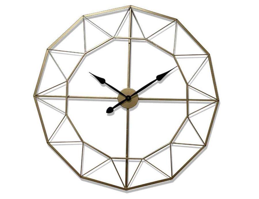 שעון קיר מתכתי מודרני בצבע זהב