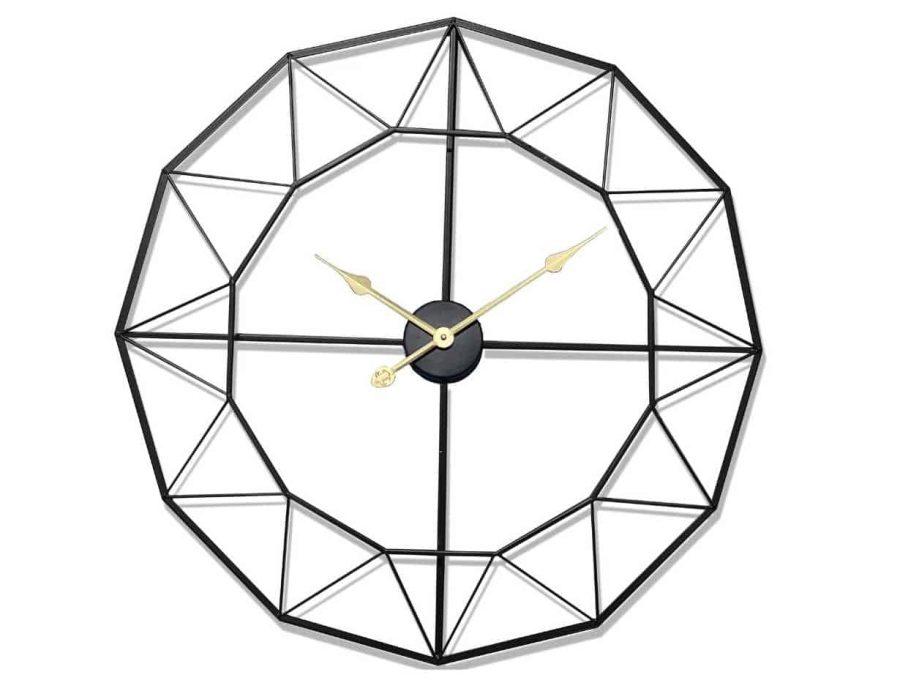 שעון קיר מתכתי מודרני בצבע שחור