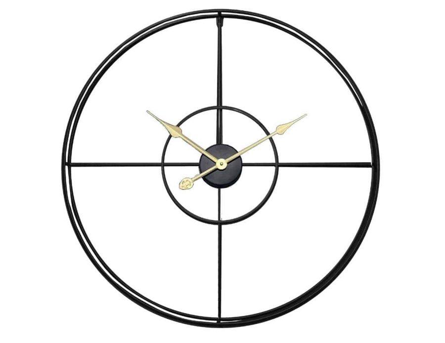 שעון קיר מתכתי שחור עיצוב מינימאלי