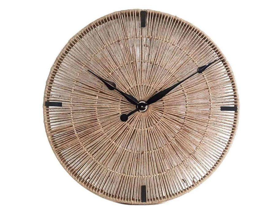 שעון קש בצבע טבעי בז' בסגנון בוהו שיק כפרי