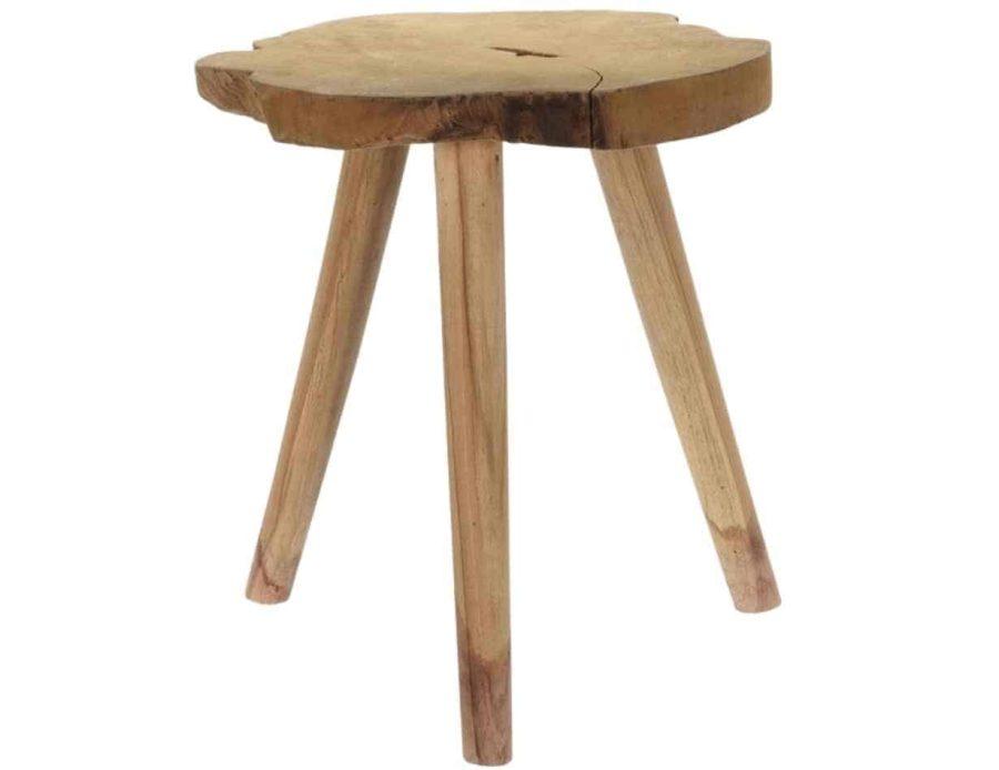 שרפרף עץ טיק 3 רגליים