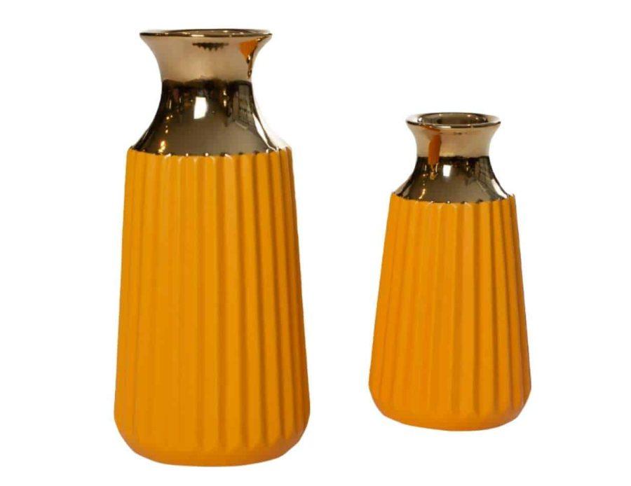 אגרטל מודרני בצבע צהוב