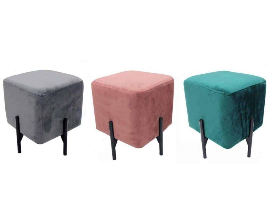 הדום ישיבה קטן - מרקם קטיפה צבע ירוק ורוד אפור