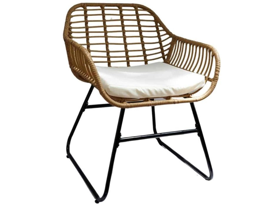 כיסא מראטן עם כרית ישיבה