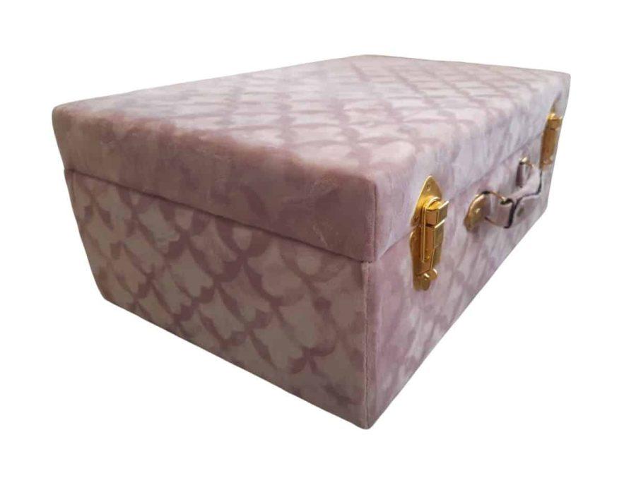 מזוודת אחסון נפתחת בצבע ורוד - מזוודת אחסון ורודה - דקורציה והום סטיילינג