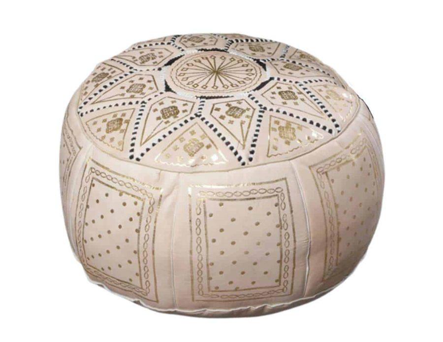 פוף מרוקאי פס - הדום לבן זהב