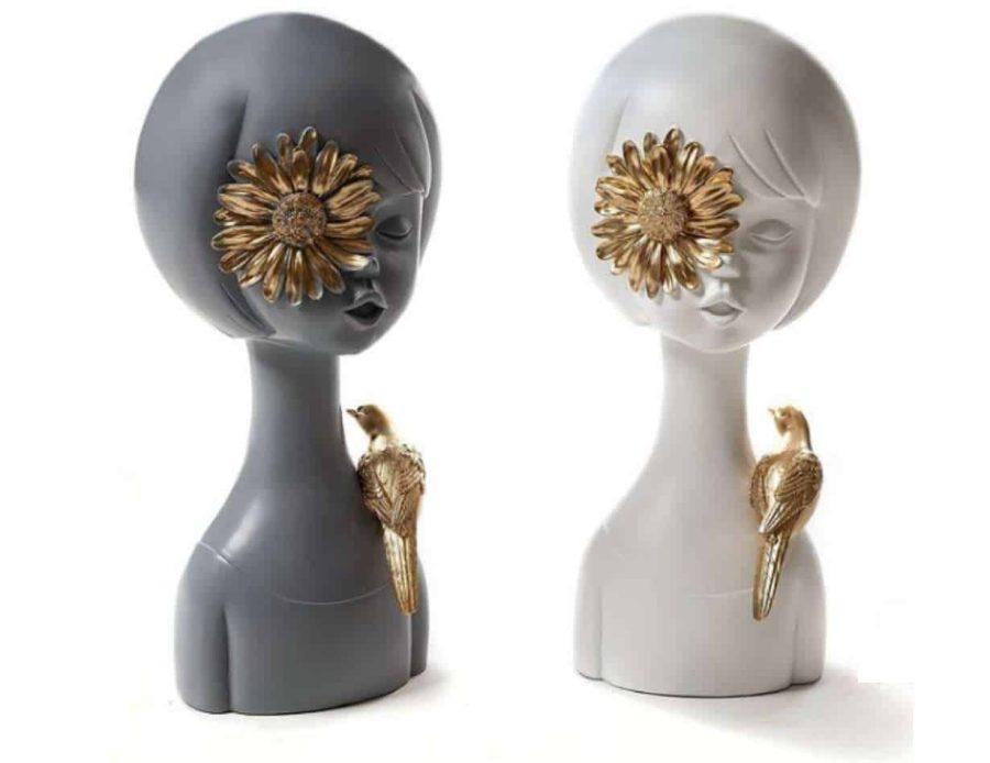 פסלים - חפצים נוי דקורטיבים של נשים עם שיער קארה משולבים פרח זהב וציפור זהב - דקורציה