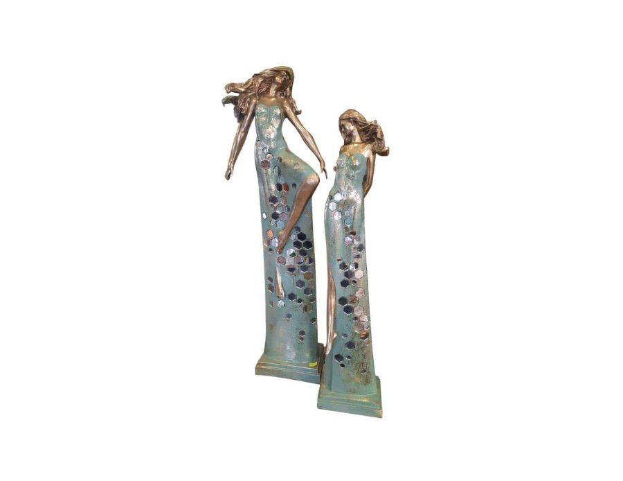 פסל בנות מוזהבות - דקורציה חפצי נוי