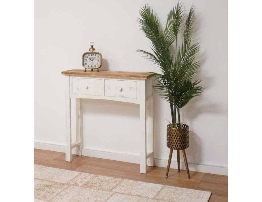 קונסולה לבנה מעץ - קונסולת עץ