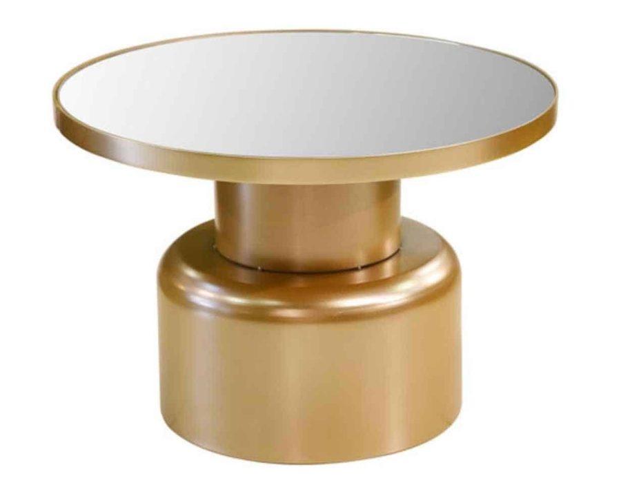 שולחן מתכת בצבע זהב עם זכוכית