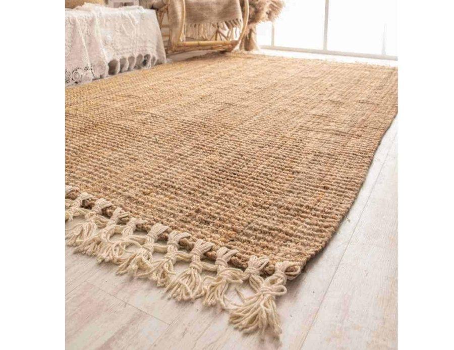 שטיח חבל עם פרנזים לבנים - כותנה שטיח חבל מלבני בסגנון בוהו שיק דגם עלמה