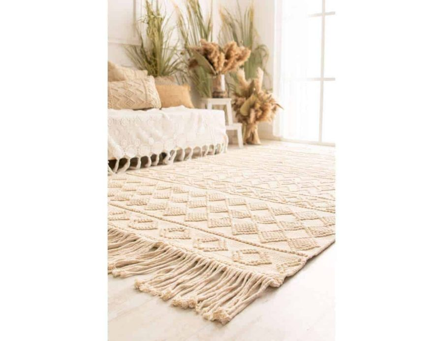 שטיח שמנת לסלון בסגנון בוהו שיק דגם פנדה (1)