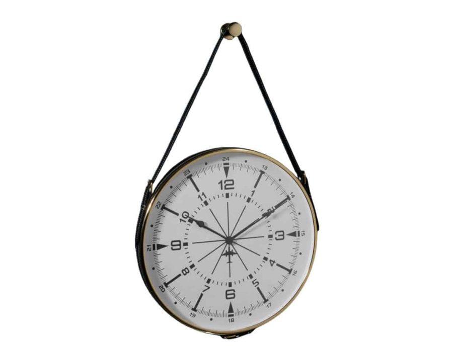 שעון קיר לתלייה עם עיטור זהב ורצועה