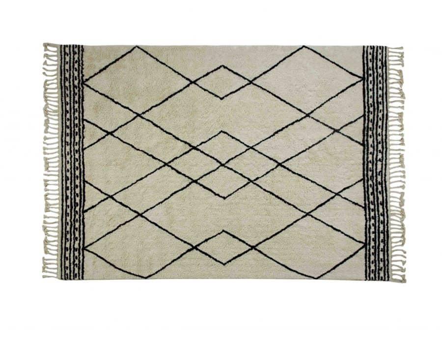 שטיח כותנה לסלון מעויינים בוהו שיק שמנת לבן