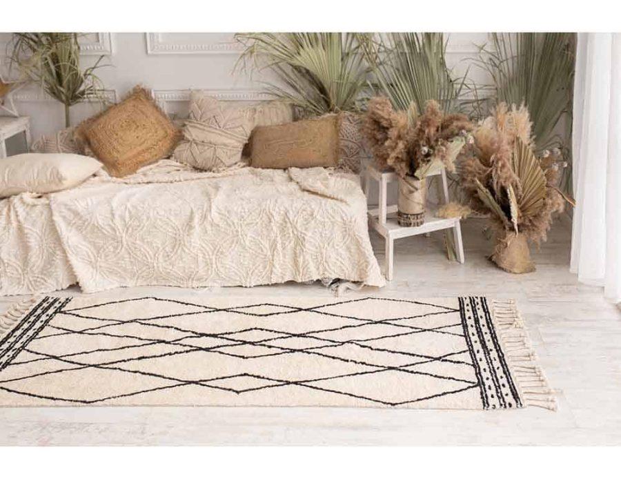 שטיח לסלון ולחדר השינה מעויינים בוהו שיק כותנה -תרשיש