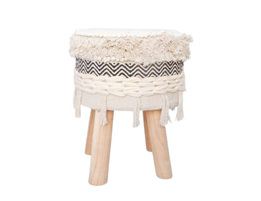 שרפרף ישיבה עם רגלי עץ בסגנון בוהו שיק כפרי - הדום עם רגלי עץ בסגנון כפרי בוהו