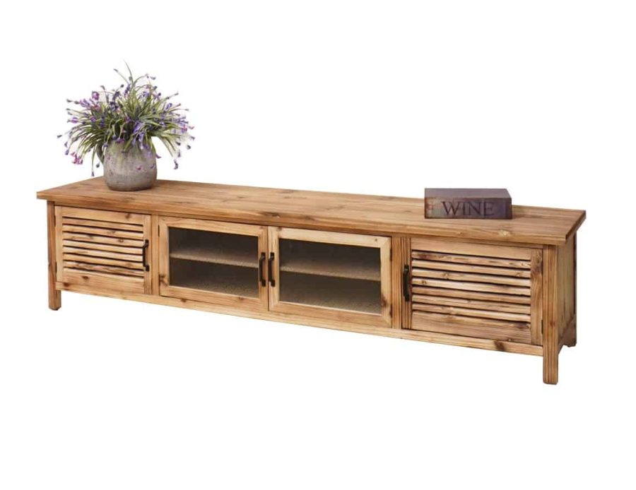 מזנון טלוויזיה מעץ טבעי בסגנון כפרי