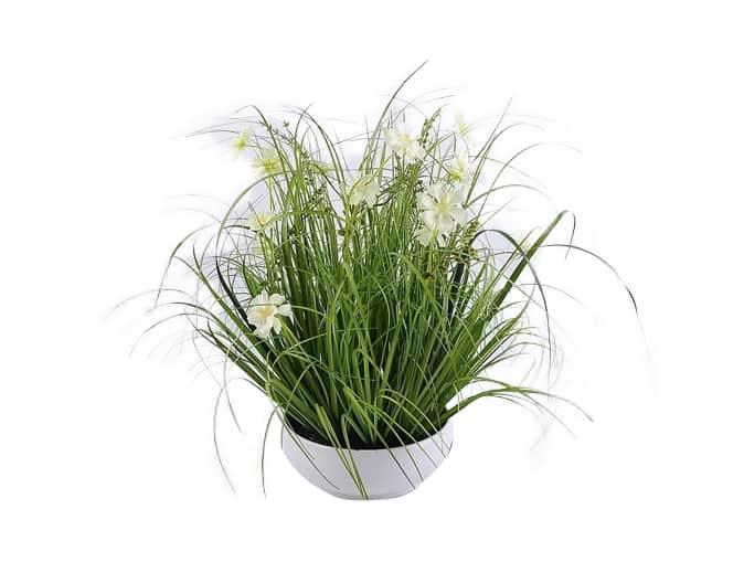 עציץ לבן עם פרחים לבן צהוב 46 סמ