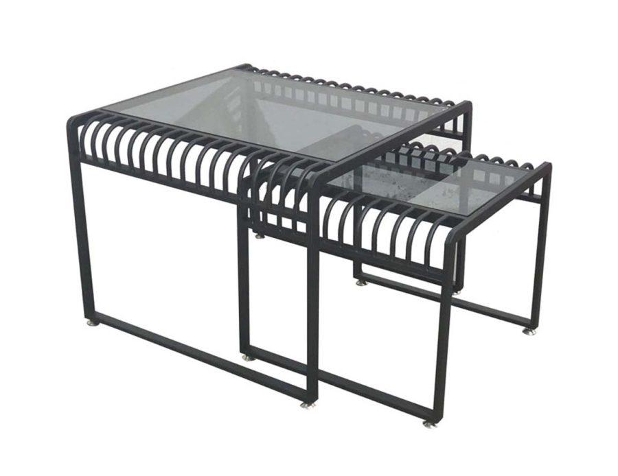 זוג שולחנות מתכת זכוכית שחורה