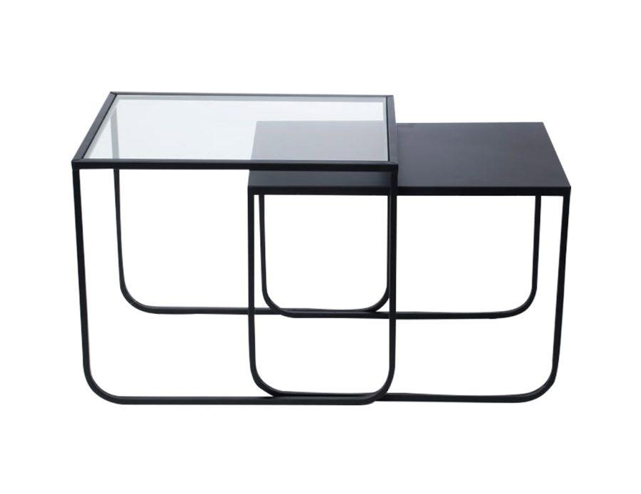 זוג שולחנות מתכת + פלטת זכוכית