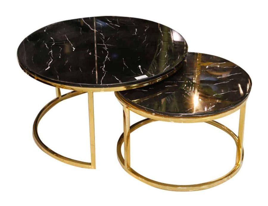 זוג שולחנות נירוסטה שיש שחור ADAGIO GOLD