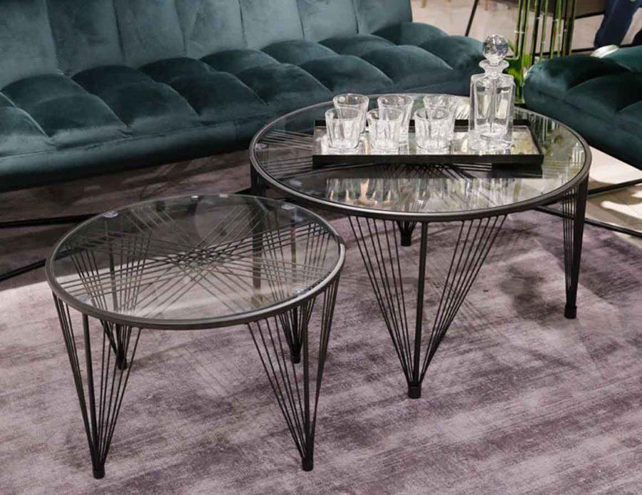 זוג שולחנות עגולים מתכת שחור זכוכית שקופה