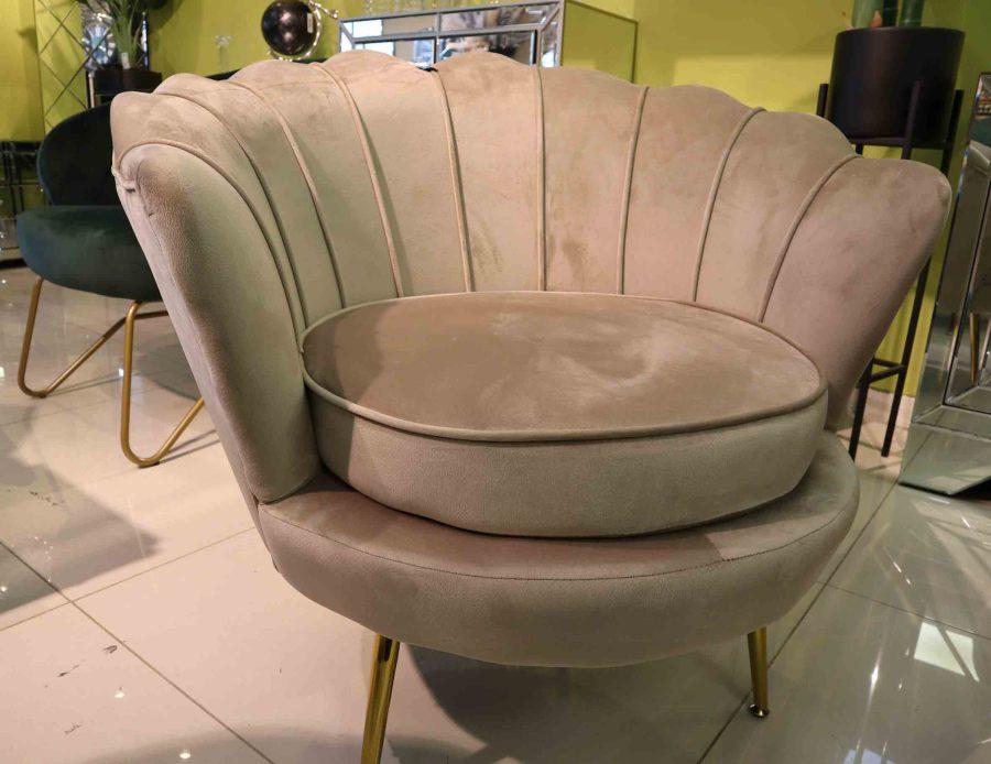 כורסא שמפניה קטיפה לסלון צדף
