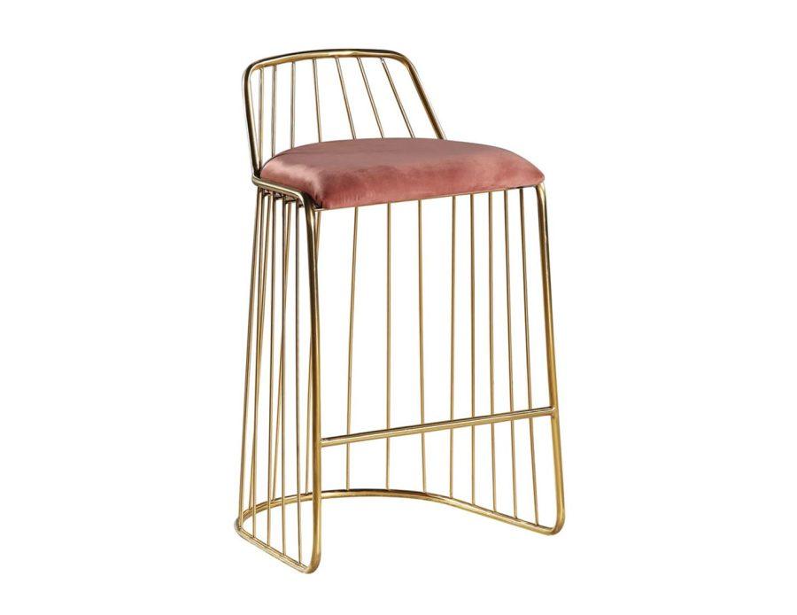 כיסא בר זהב משולב ורוד מעוצב מודרני