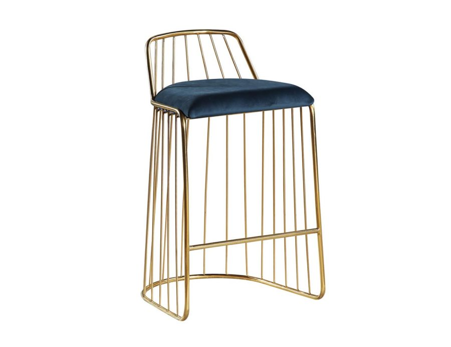 כיסא בר זהב משולב כחול בעיצוב מודרני
