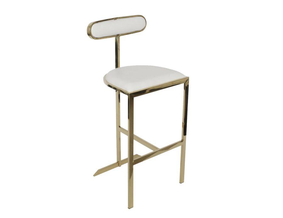 כיסא בר זהב עם ריפוד שמנת