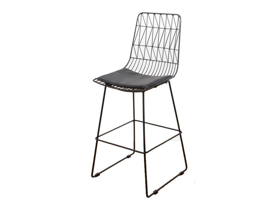 כיסא בר שחור גבוהה מתכת עם כרית