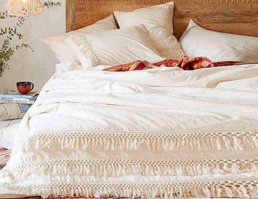 מצעים למיטה זוגית 100% כותנה לבנים בוהו 01
