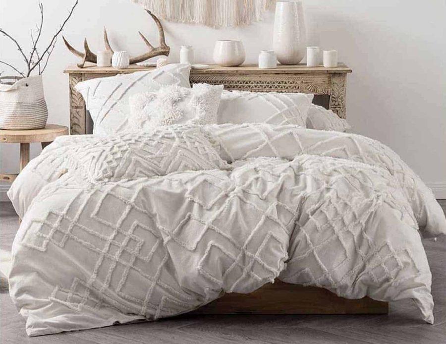 מצעים למיטה זוגית 100% כותנה לבנים בוהו 02