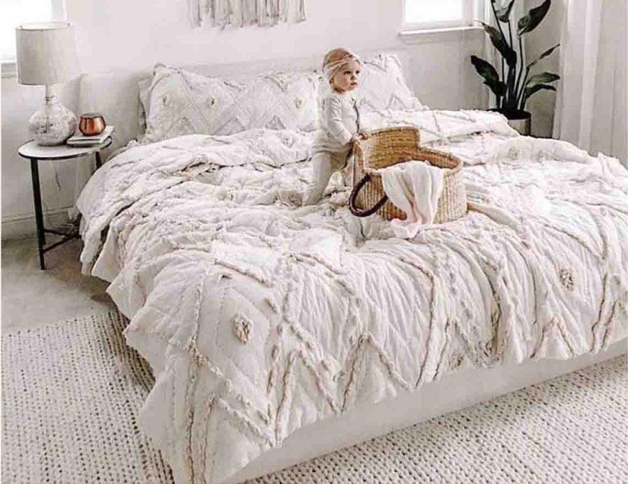 מצעים למיטה זוגית 100% כותנה לבנים בוהו 03
