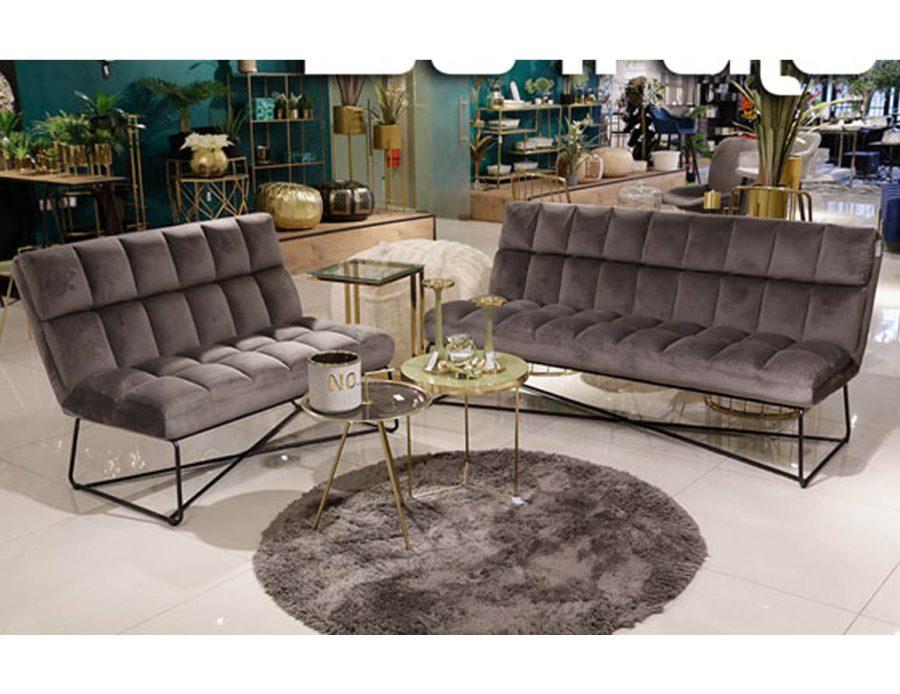 ספה זוגית לסלון - קטיפה אפור