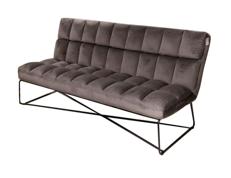 ספה שלישייה לסלון - קטיפה אפור