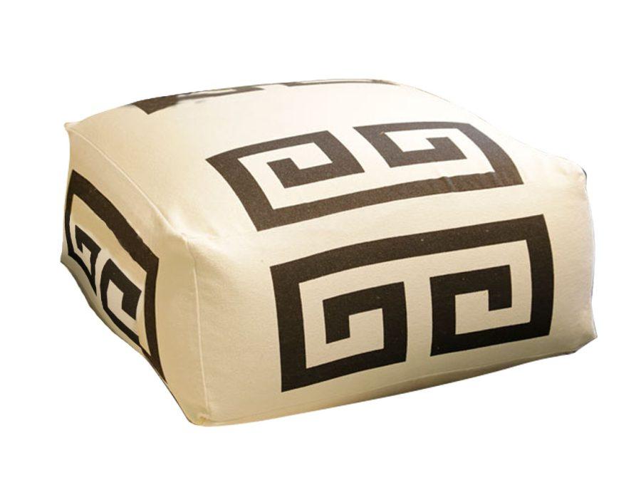 פוף כותנה מודרני שחור לבן OZBEK מרובע