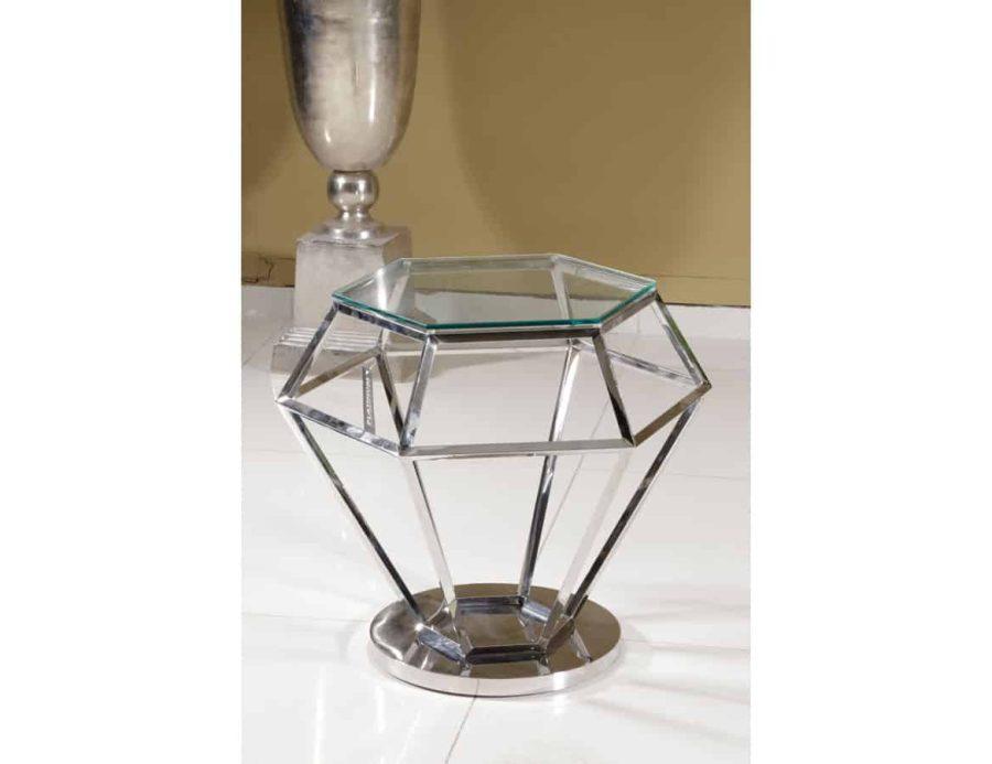שולחן יהלום זכוכית שקופה נירוסטה