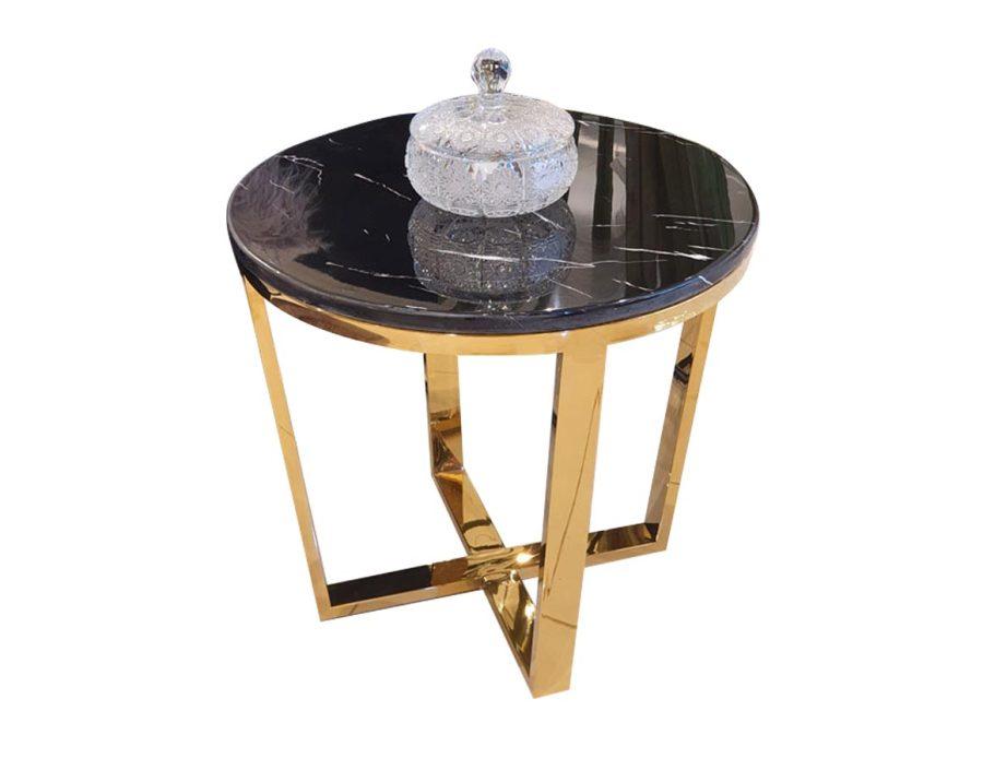 שולחן נירוסטה פלטת שיש שחור ADAGIO GOLD