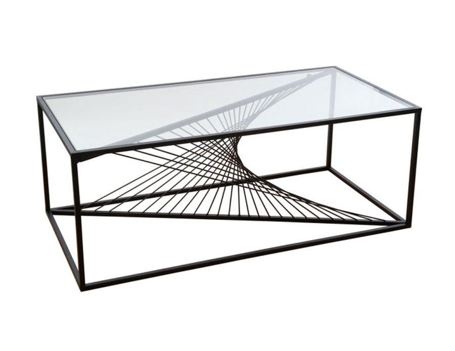 שולחן סלון מיתרים מתכת זכוכית שקופה