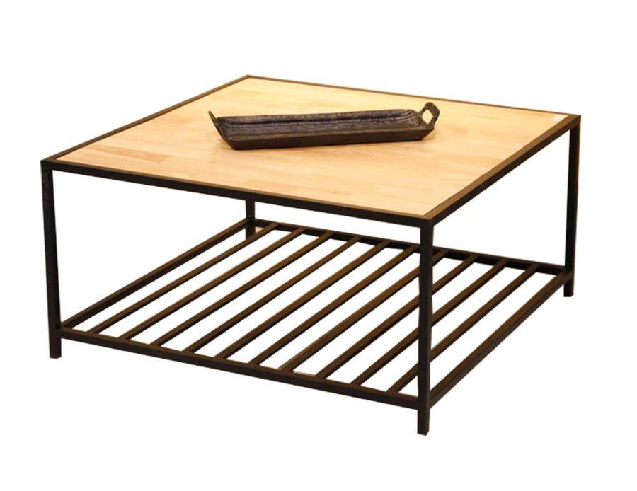 שולחן סלון מתכת + עץ