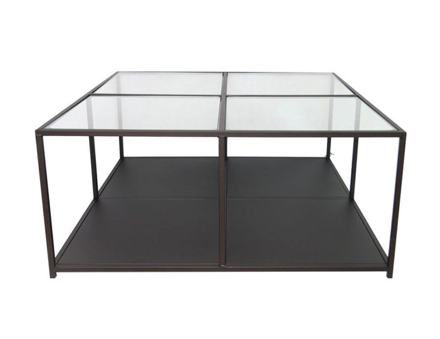 שולחן סלון 4 קוביות זכוכית שקופה