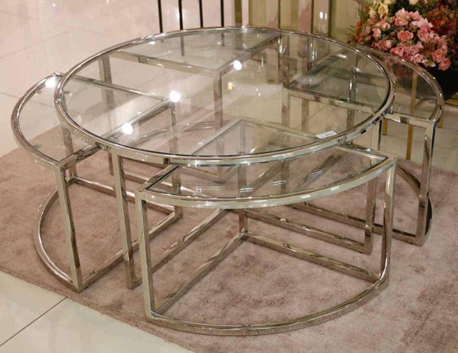שולחן סלון + 4 שולחנות קטנים נירוסטה ADAGIO GOLD