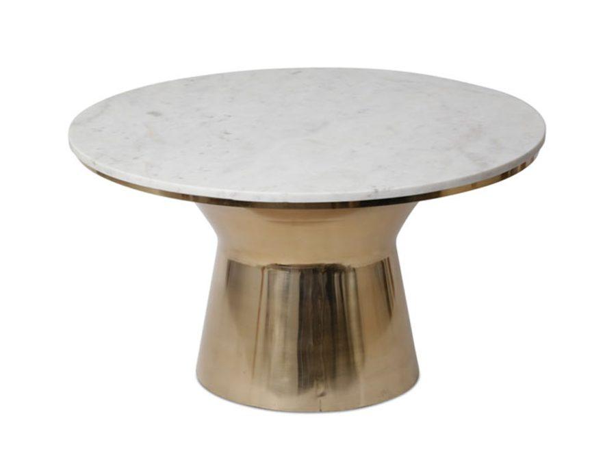 שולחן שיש לבן רגל מתכת זהב