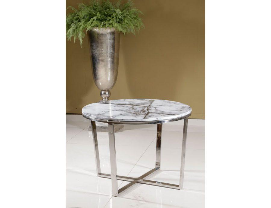 שולחן עגול נירוסטה פלטת שיש לבנה