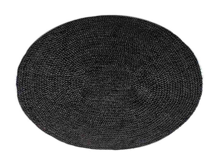 שטיח חבל אובלי שחור