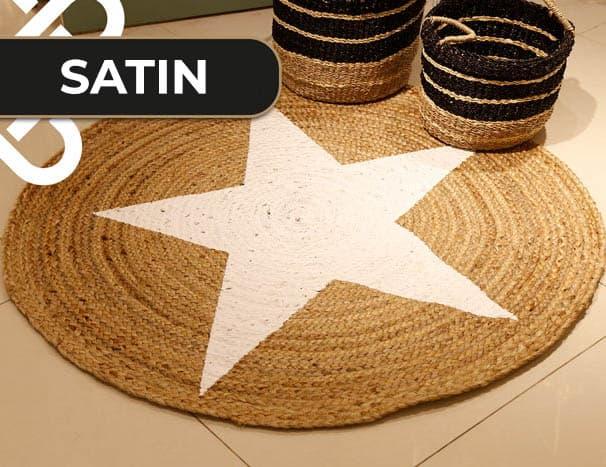 שטיח חבל כוכב לבן